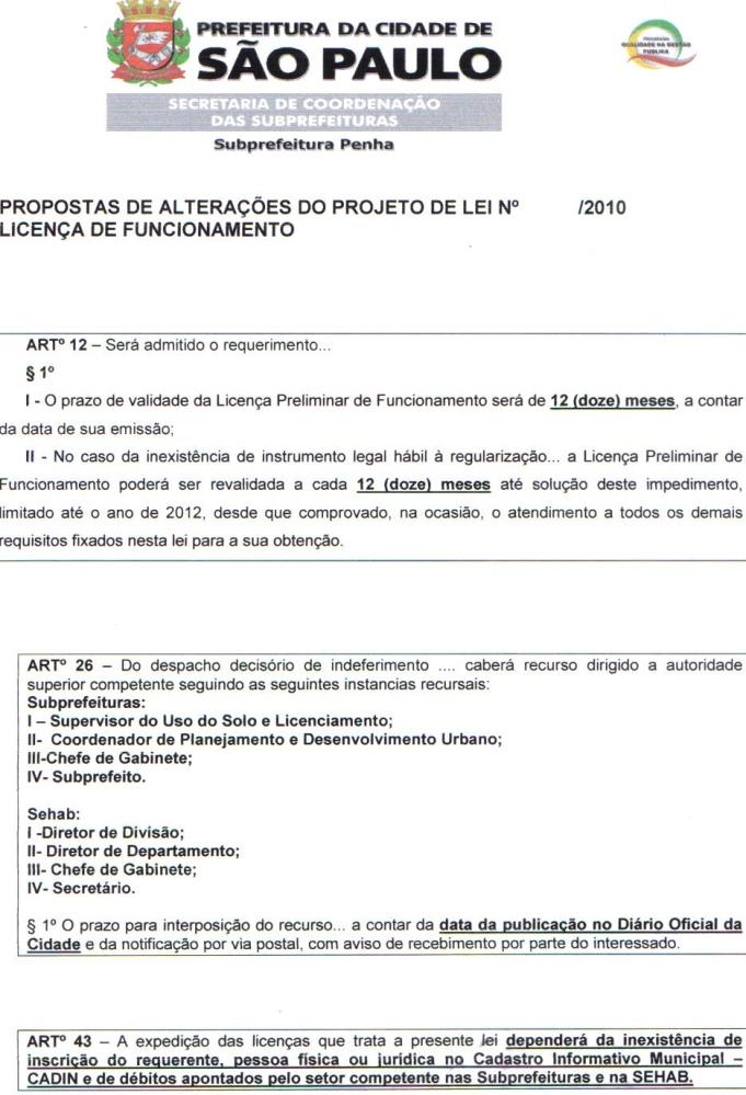 Projeto de Lei 189/2010-Alvará de Funcionamento com alterações para 2ª votação (2/4)
